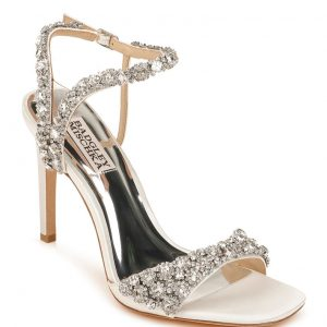 Badgley Mischka Galia Metallic Crystal Stiletto Sandals