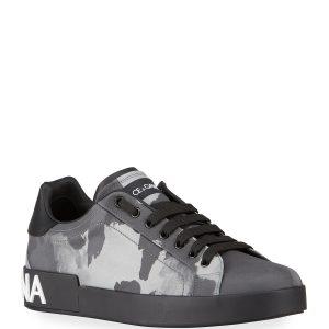 Dolce & Gabbana Men's Portofino Camo-Print Low-Top Sneakers