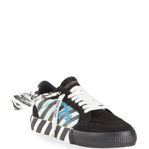 Off-White Men's Diagonal-Print Suede Low-Top Sneakers