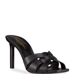 Saint Laurent Tribute Woven Calfskin Stiletto Sandals