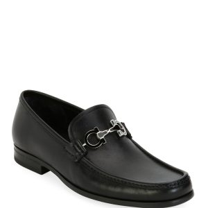 Salvatore Ferragamo Men's Leather Loafer with Reversible Gancini Ornament