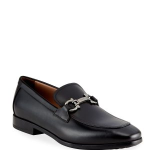 Salvatore Ferragamo Men's Gancini-Bit Leather Loafers